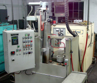 Induction scanning machine with power supply in the background